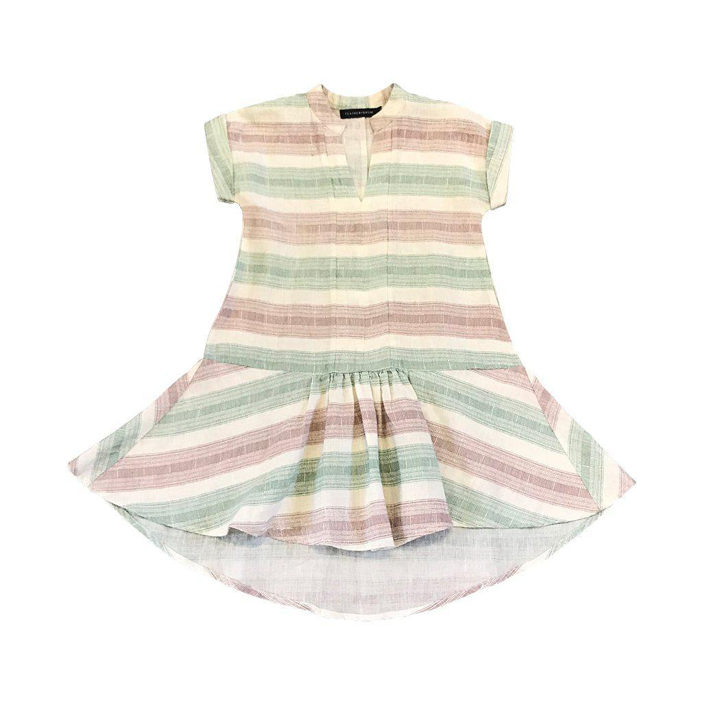 Feather Drum Bowie Dress - Beach Stripe Girls Dresses - Tiny People Cool Kids Clothes