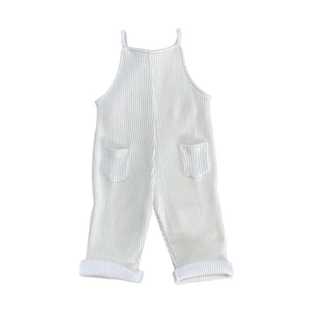 Slouchie Overalls Chalk Thick Rib | Tiny People