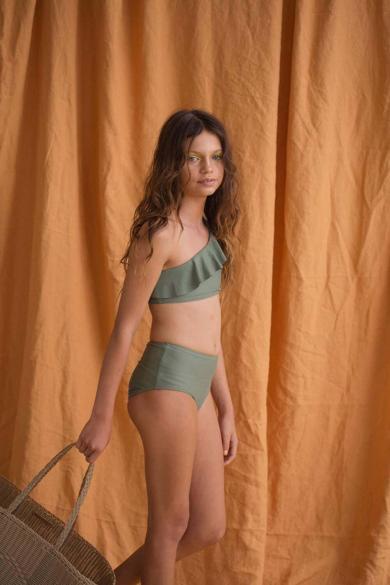 Feather Drum One Shoulder Frill Bikini Army | Tiny People