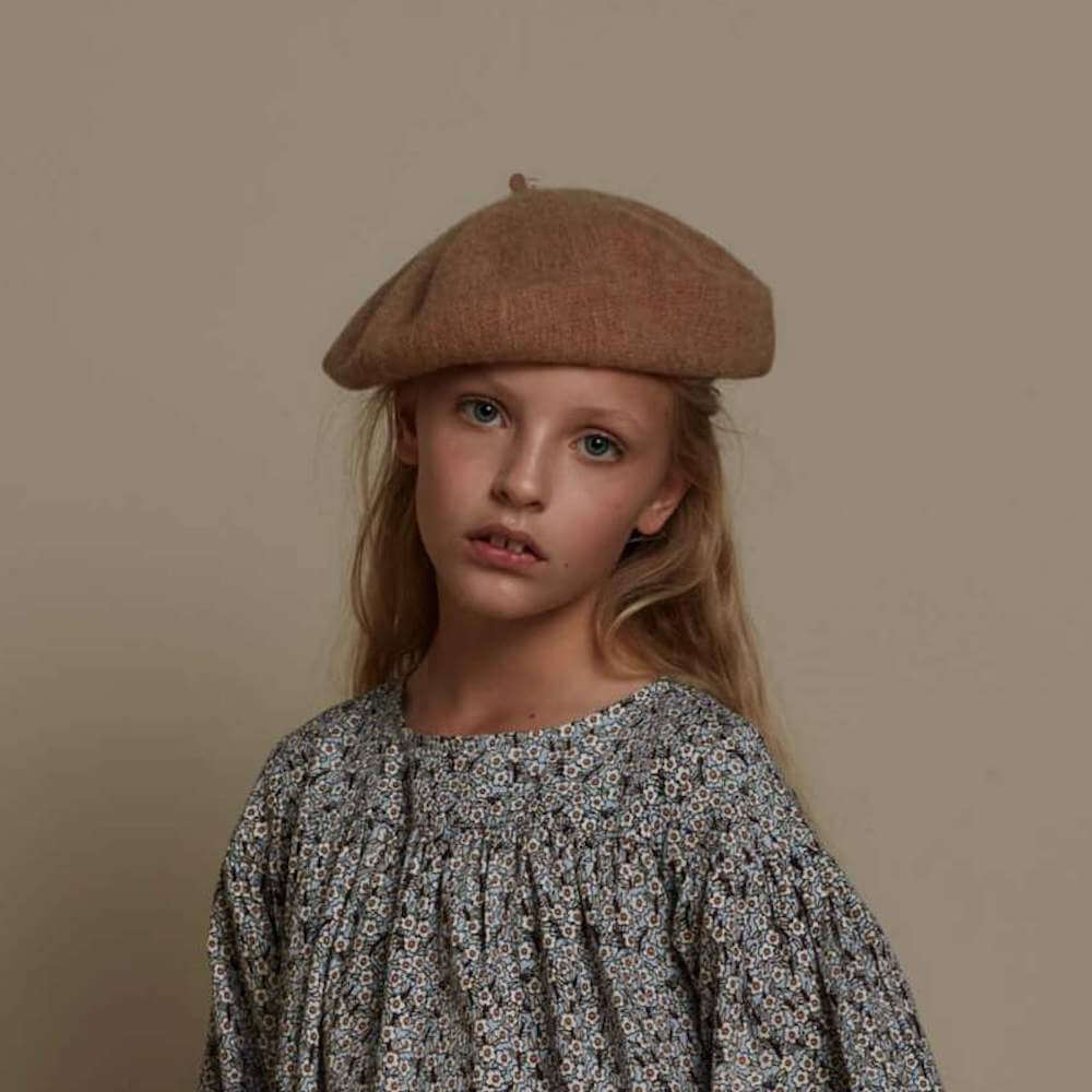 Feather Drum Knit Beret Caramel | Tiny People