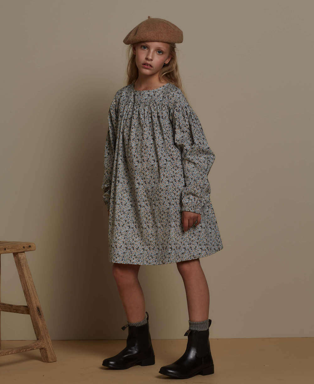 Feather Drum Grace Dress Blue Ditsy | Tiny People