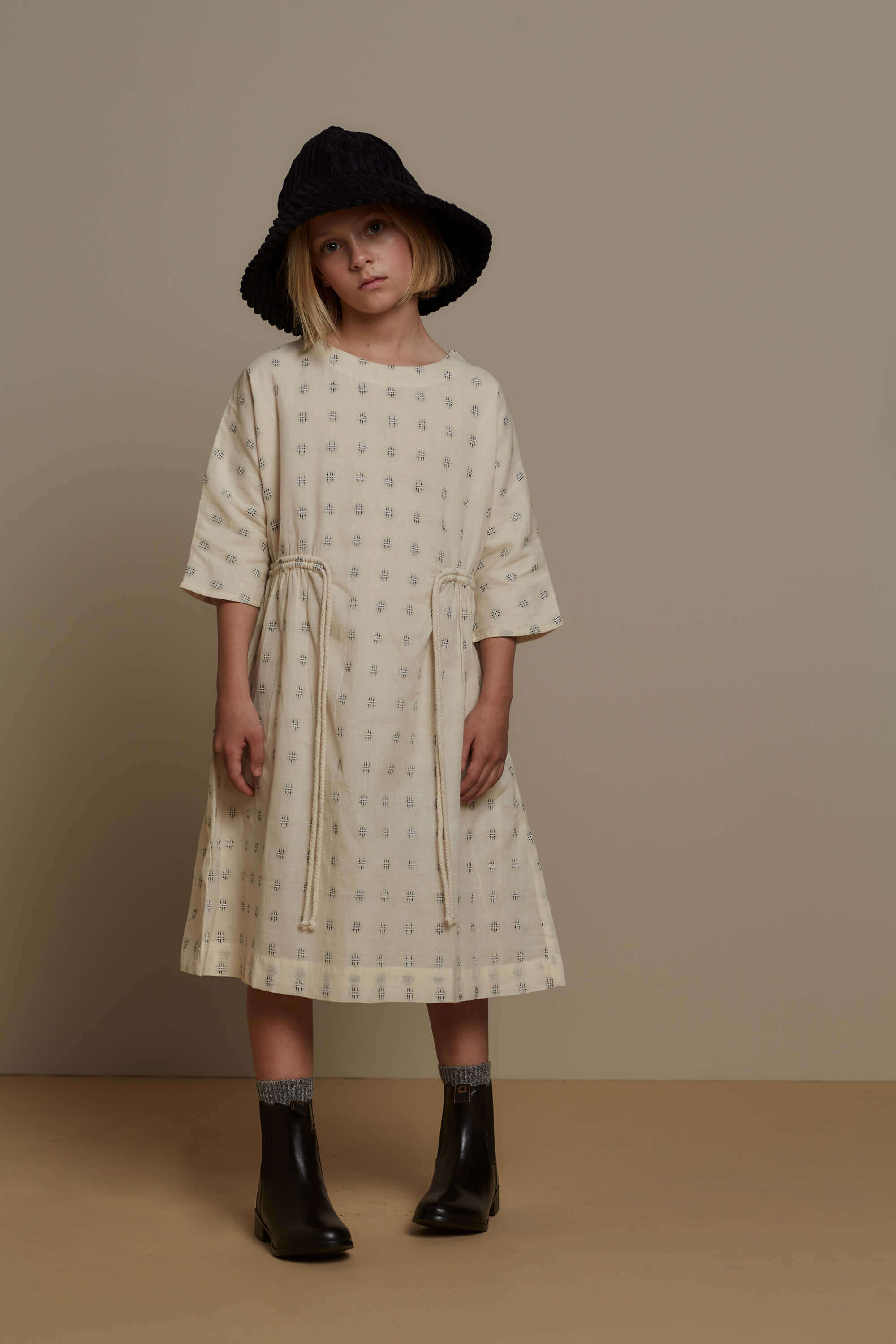 Feather Drum Sloane Dress Embroidered | Tiny People