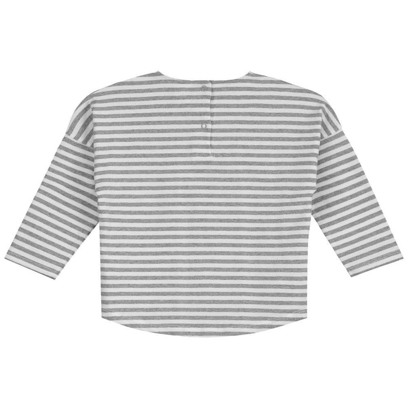 Long Sleeve Dropped Shoulder Tee Grey Melange and White Stripe