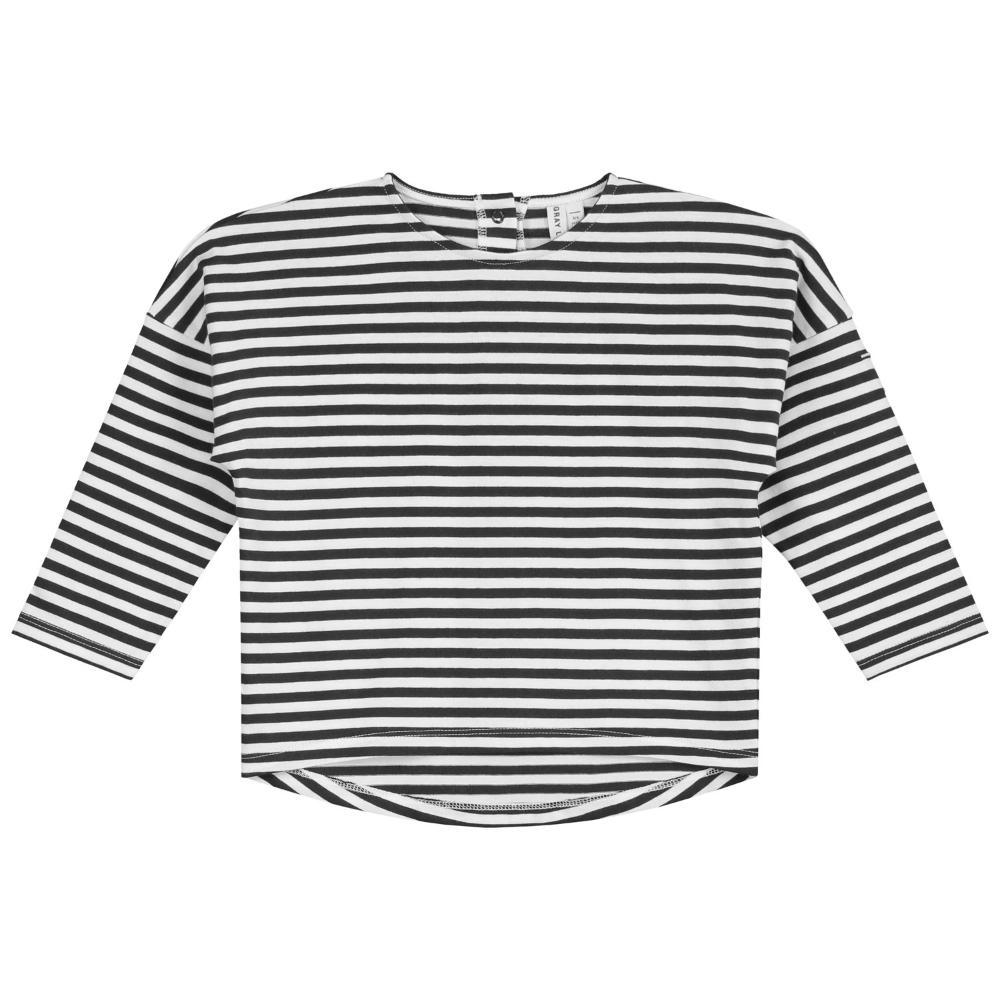 Long Sleeve Dropped Shoulder Tee Nearly Black and Cream Stripe