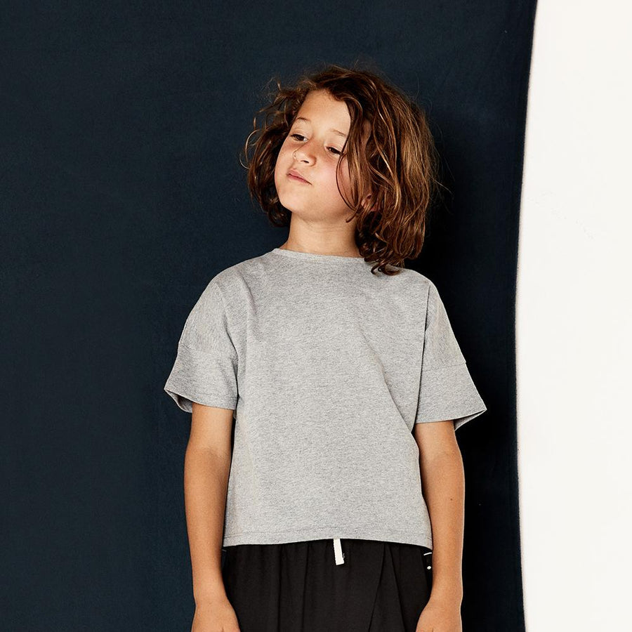 Gray Label Oversized Crop Tee Grey Melange - Tiny People Cool Kids Clothes Byron Bay
