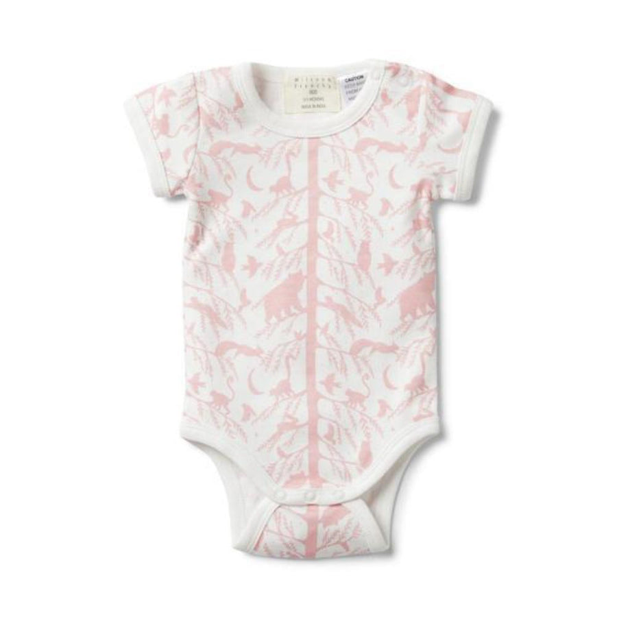 Wilson and Frenchy Pink Adventure Awaits Short Sleeve Bodysuit - Tiny People Cool Kids Clothes Byron Bay