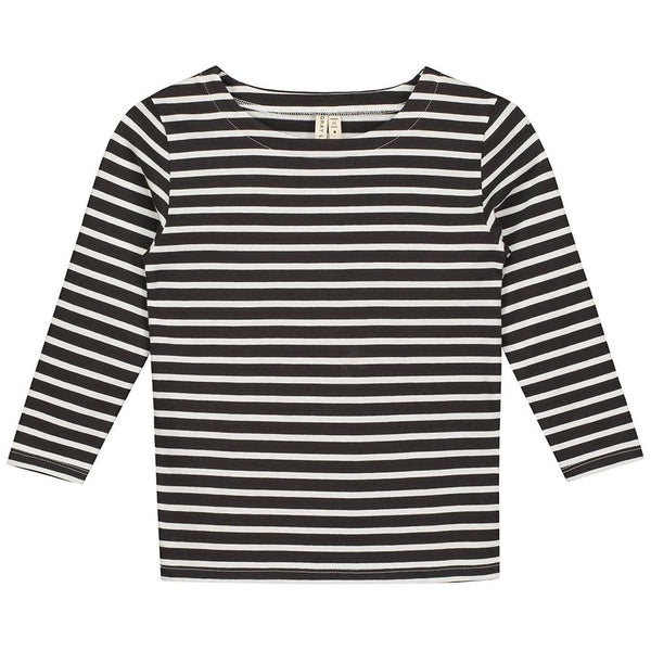Gray Label Striped Tee Nearly Black White Stripe - Tiny People Cool Kids Clothes Byron Bay