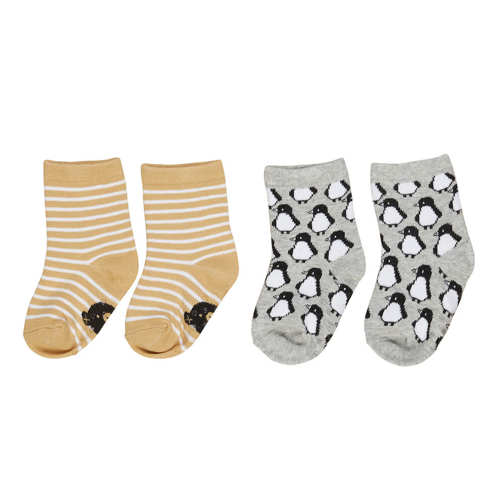 Huxbaby Stripe / Penguin Socks 2Pk | Tiny People