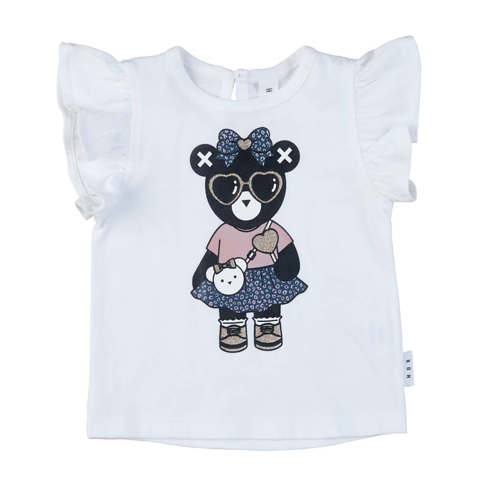 Huxbaby Bow Hux Girl Frill Top White | Tiny People