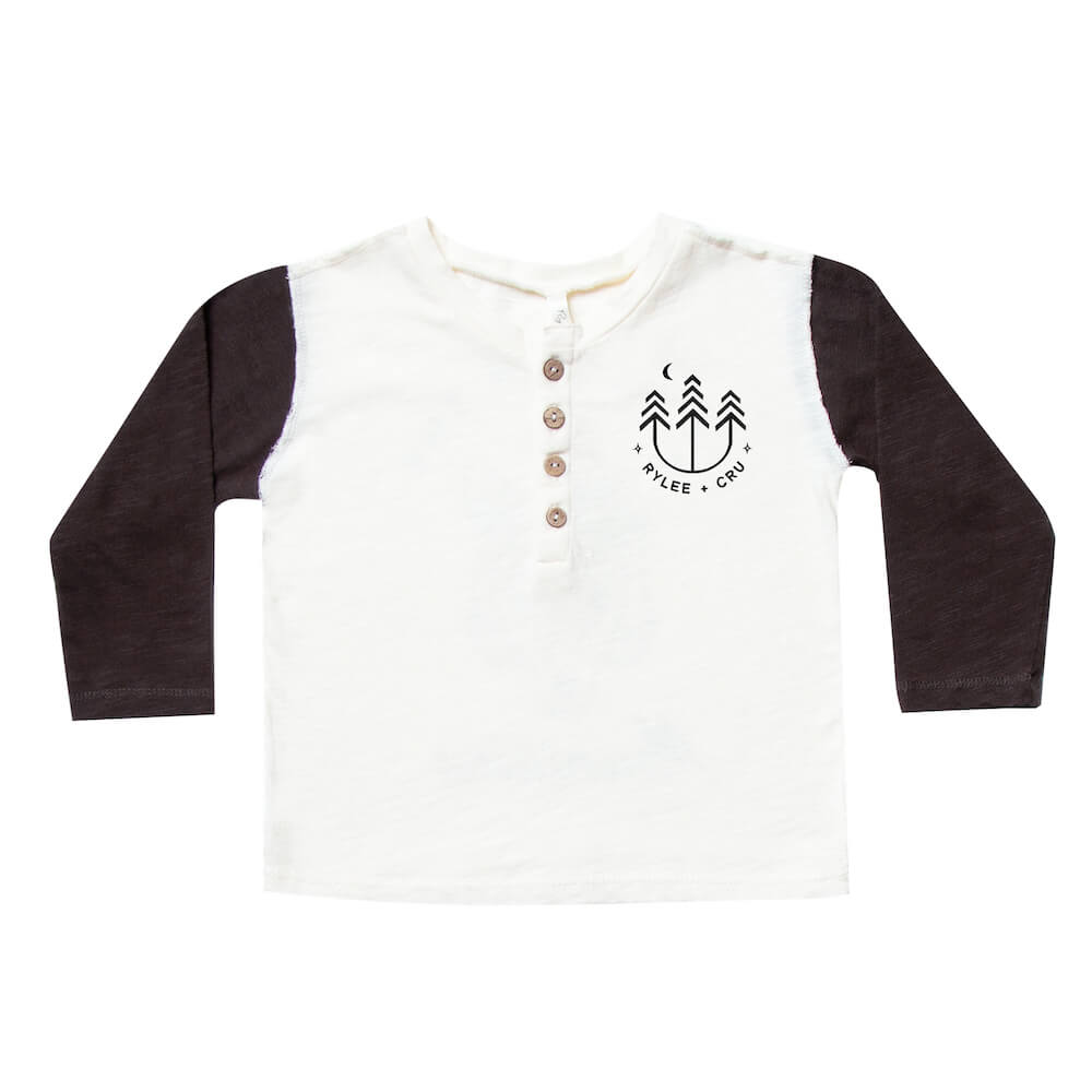 Rylee & Cru Henley Long Sleeve Tee Vintage Black | Tiny People