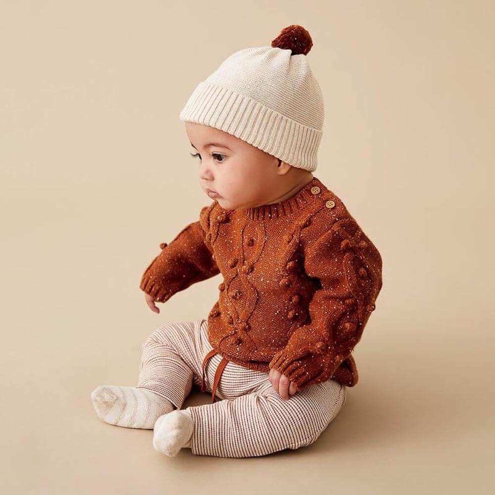 Wilson & Frenchy Toasted Pecan Knitted Jumper with Baubles | Tiny People