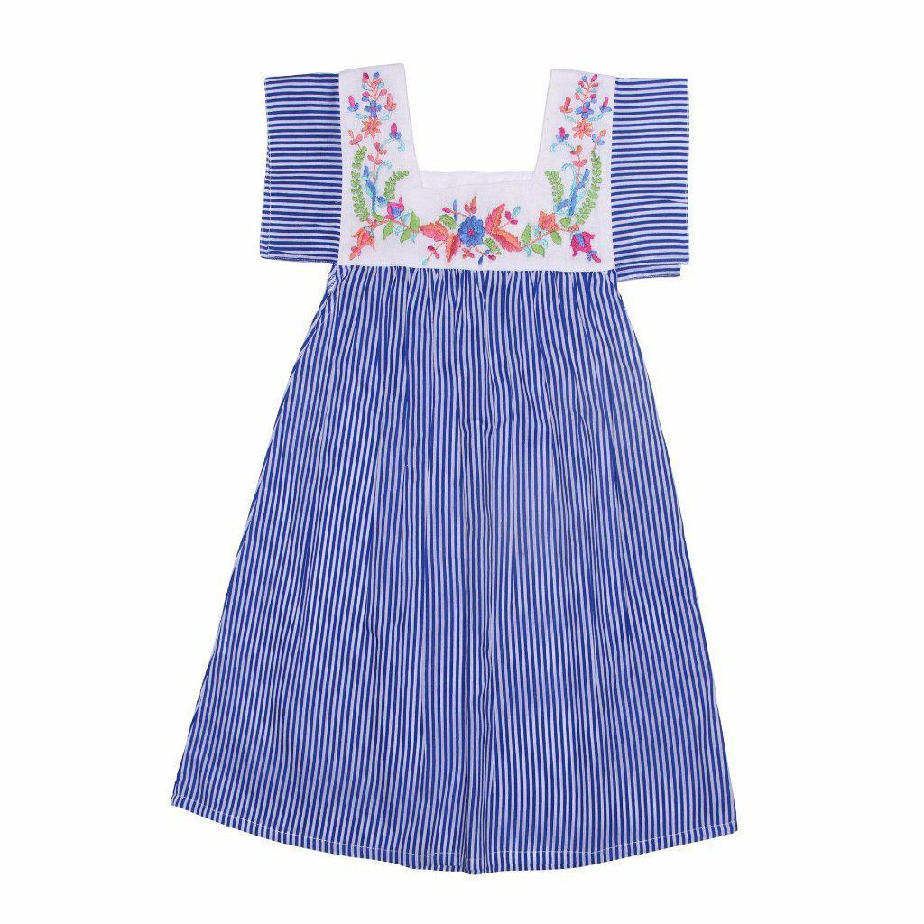 Allegra Dress Azura Stripe with Hand Stitch