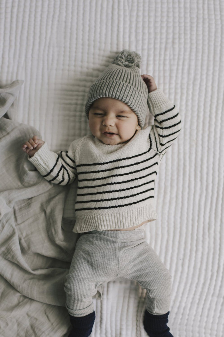 Jamie Kay Stripe Knit - Oatmeal Marle - Tiny People Cool Kids Clothes Byron Bay