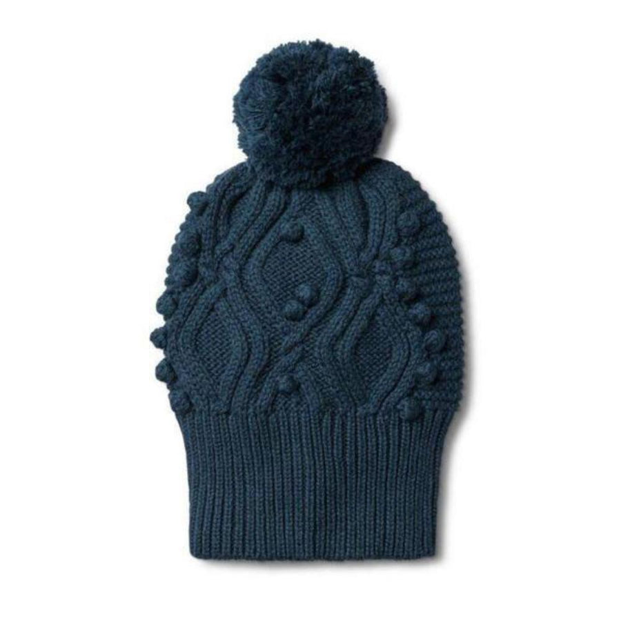 Cable Knitted Pom Pom Hat - Majolica Blue