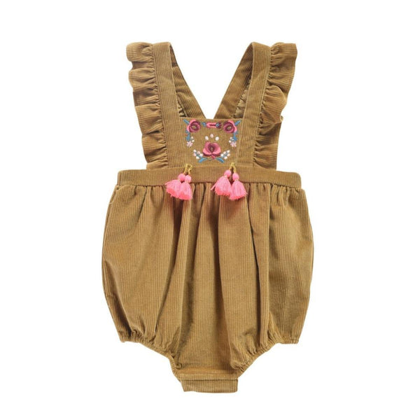 Louise Misha Ritaka Romper in Beewax at Tiny People shop.