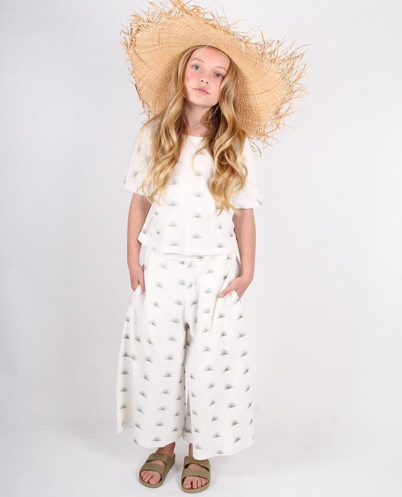 Feather Drum Muse Pant Rising Sun Terry Cloth Girls Pants & Leggings - Tiny People Cool Kids Clothes