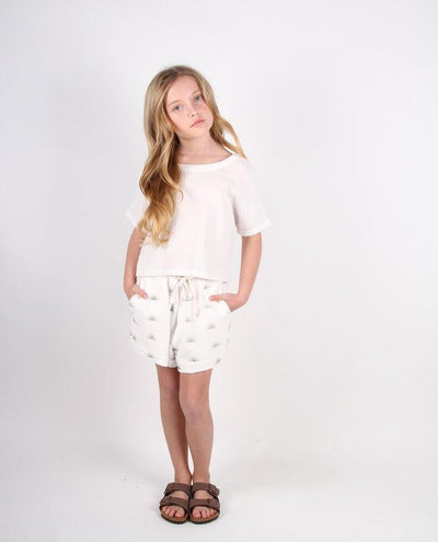 Feather Drum Double Hem Shorts Rising Sun Terry Cloth Girls Shorts - Tiny People Cool Kids Clothes