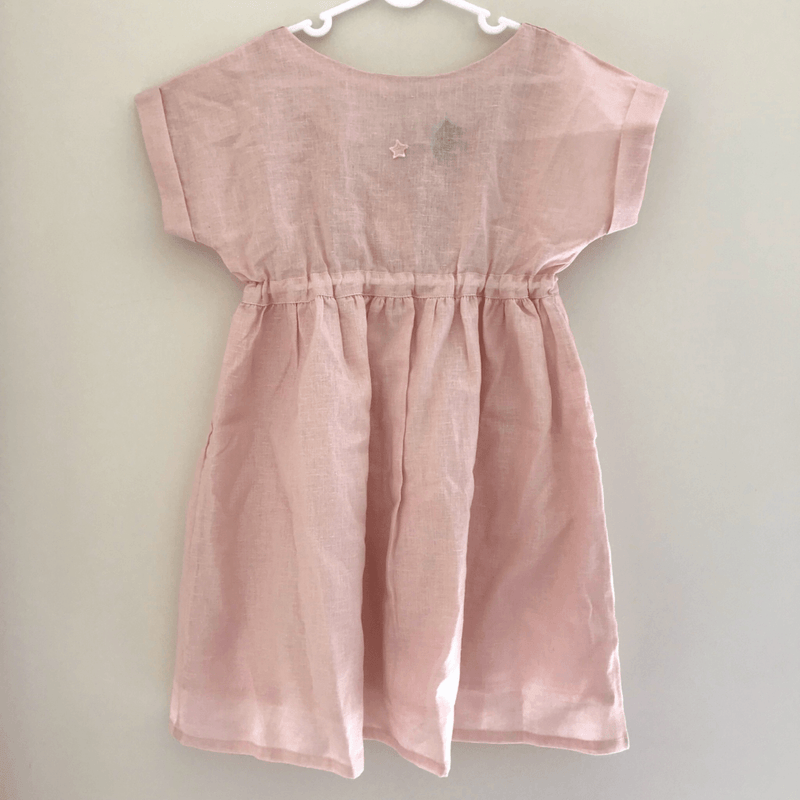 Tocoto Vintage Cotton Linen Dress Pink - Tiny People Cool Kids Clothes Byron Bay