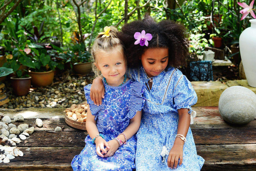 Coco & Ginger Isadora Dress Porcelain Indian Flowers - Tiny People Cool Kids Clothes Byron Bay