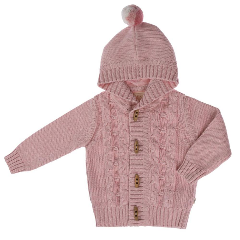 Jujo Baby Cable Knit Jacket - Blush Pink - Tiny People Cool Kids Clothes Byron Bay