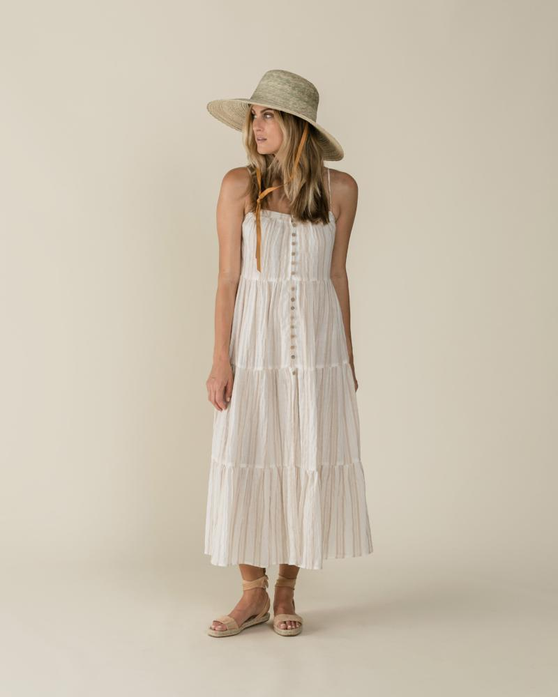 Women's Stripe Tiered Maxi Dress Sand