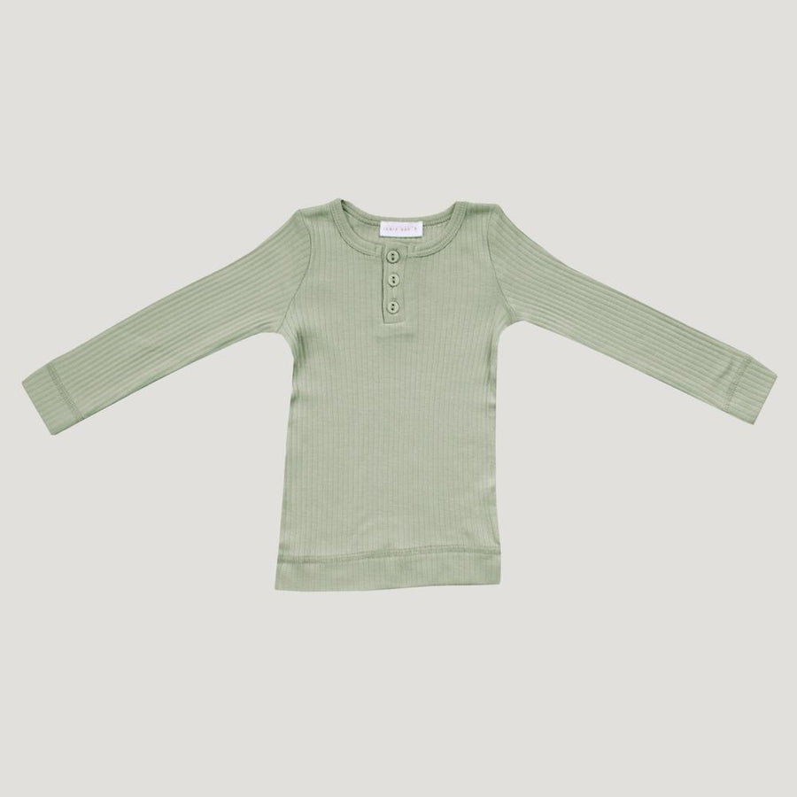 Cotton Modal Henley Top Sage