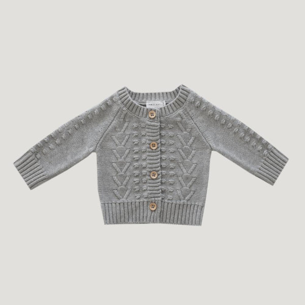 Jamie Kay Cable Cardigan - Light Grey Marle - Tiny People Cool Kids Clothes Byron Bay