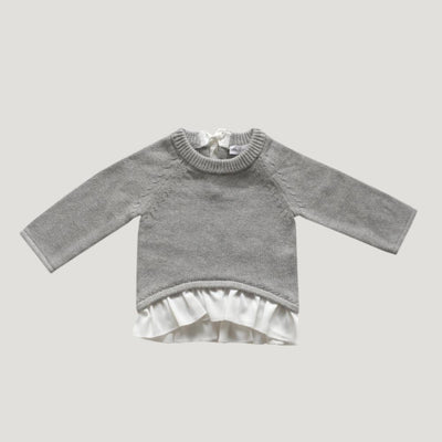 Jamie Kay Frill Knit - Light Grey Marle - Tiny People Cool Kids Clothes Byron Bay