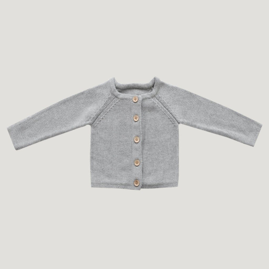 Simple Cardigan Lightest Grey Marle