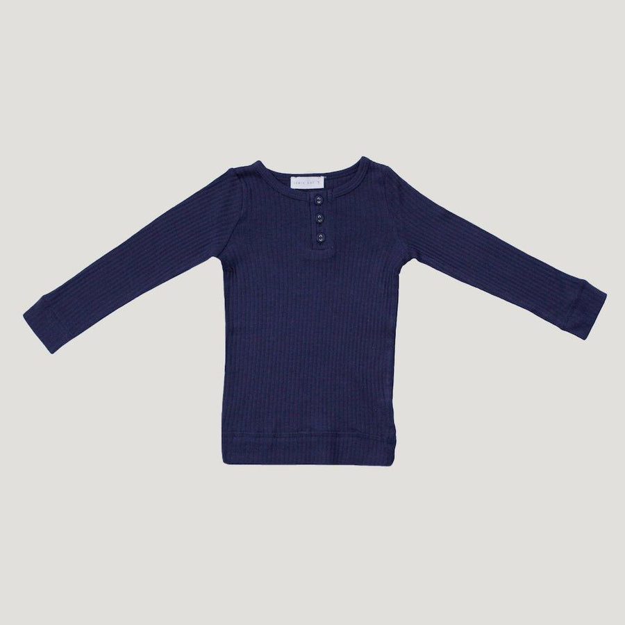 Cotton Modal Henley Top Navy