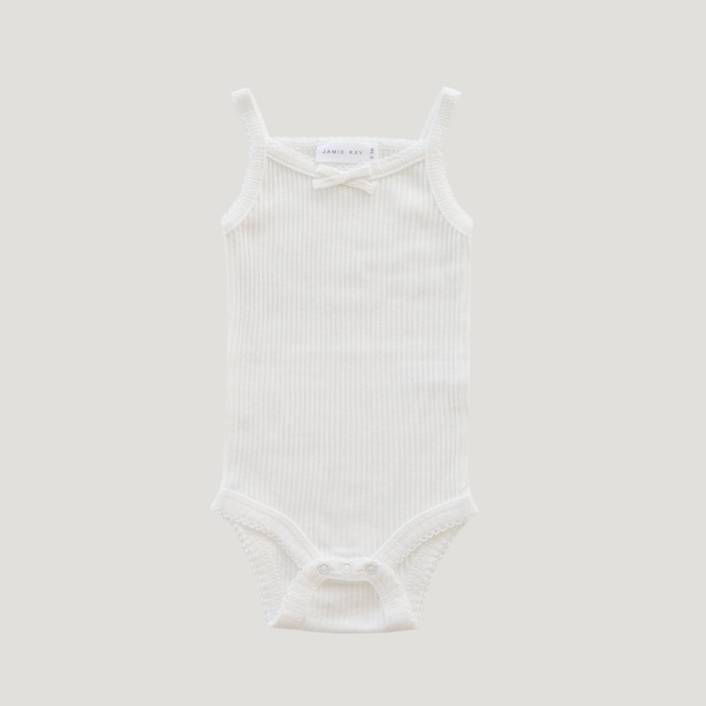 Cotton Modal Singlet Bodysuit Milk