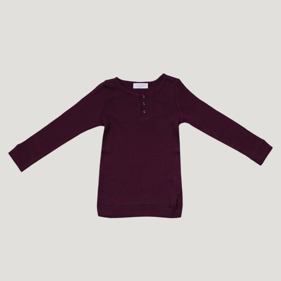 Cotton Modal Henley Top Mulberry