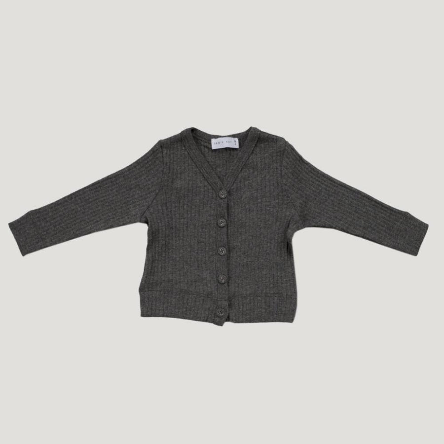 Jamie Kay Cotton Modal Cardi - Dark Grey Marle - Tiny People Cool Kids Clothes Byron Bay