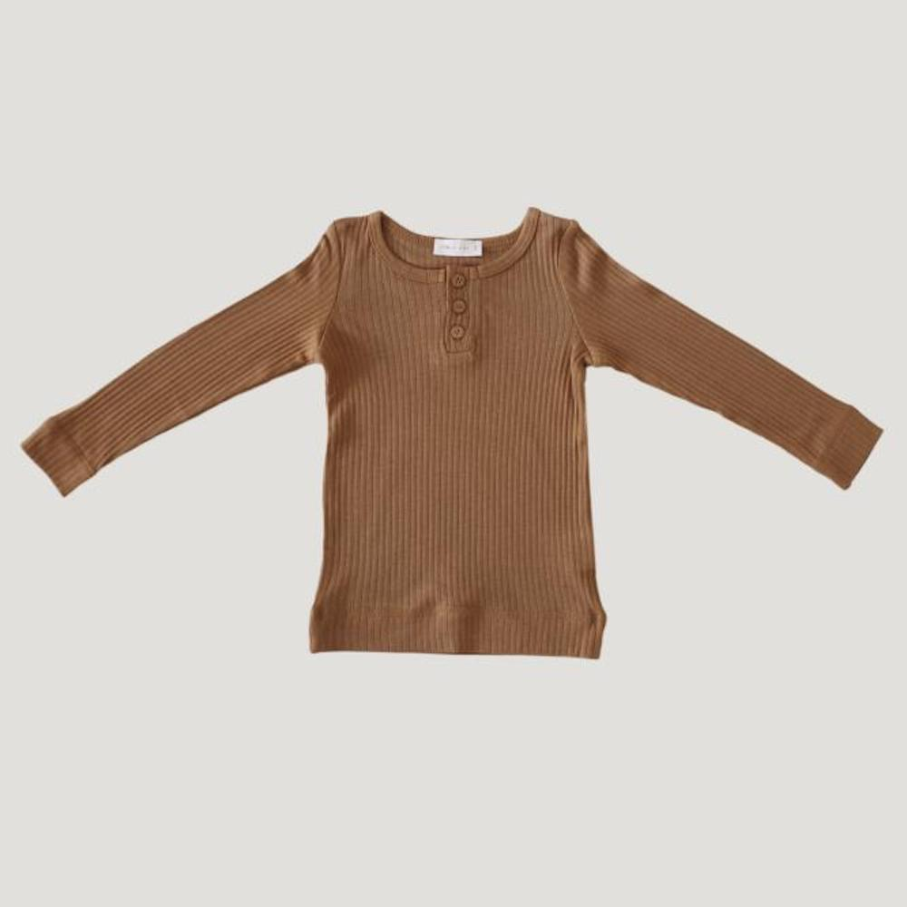 Cotton Modal Henley Top Bronze