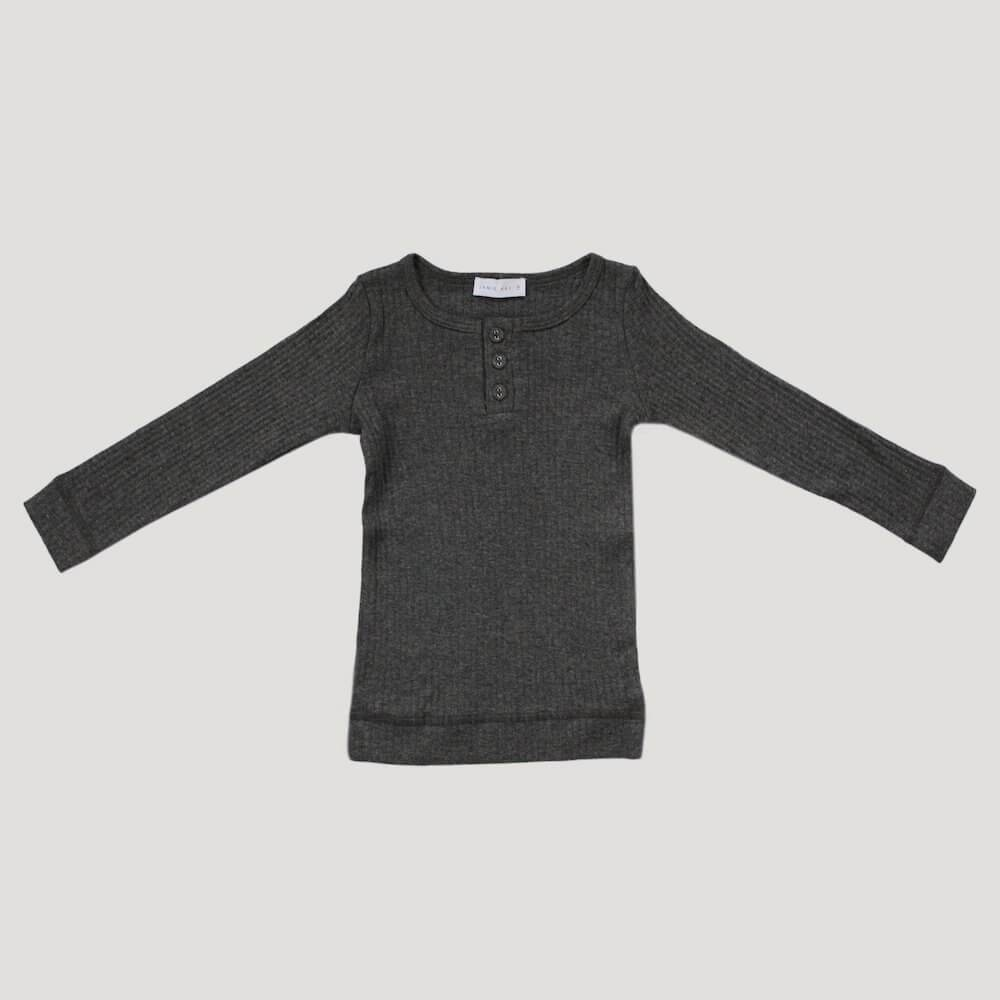 Jamie Kay Cotton Modal Henley Top Dark Grey Marle Tops - Tiny People Cool Kids Clothes
