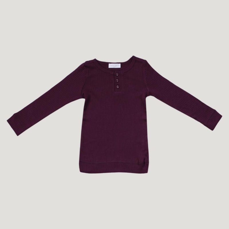 Jamie Kay Cotton Essentials Henley Top - Fig - Tiny People Cool Kids Clothes Byron Bay