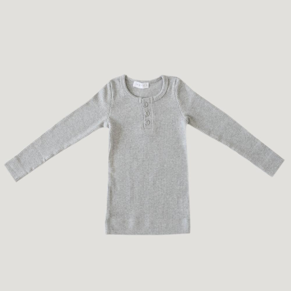 Jamie Kay Cotton Modal Henley Top Light Grey Marle Tops - Tiny People Cool Kids Clothes