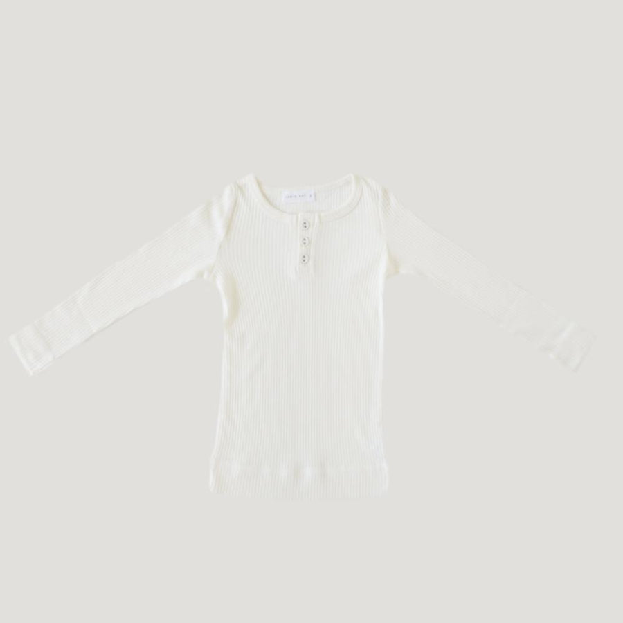 Jamie Kay Cotton Essentials Henley Top - Milk - Tiny People Cool Kids Clothes Byron Bay