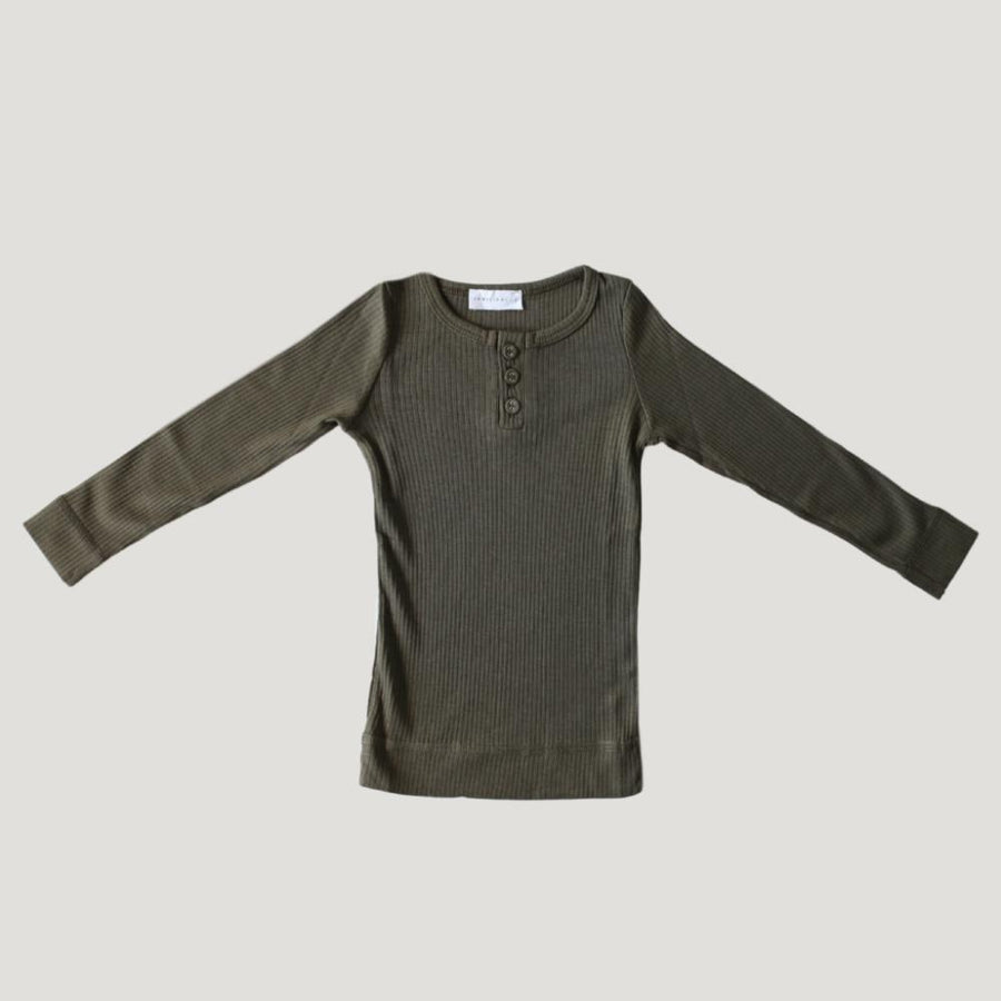 Jamie Kay Cotton Essentials Henley Top - Olive - Tiny People Cool Kids Clothes Byron Bay