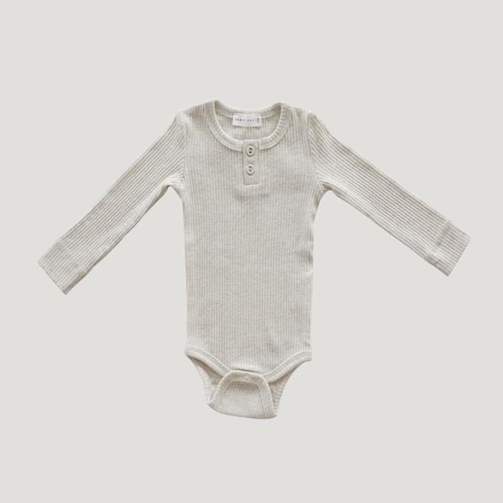 Jamie Kay Cotton Modal Bodysuit Oatmeal Marle Bodysuits - Tiny People Cool Kids Clothes