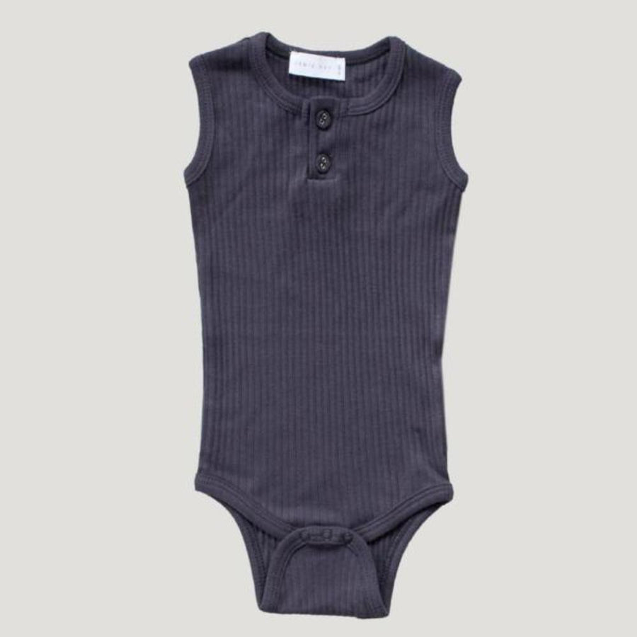 Jamie Kay Cotton Essentials Singlet Bodysuit - Periscope Grey - Tiny People Cool Kids Clothes Byron Bay
