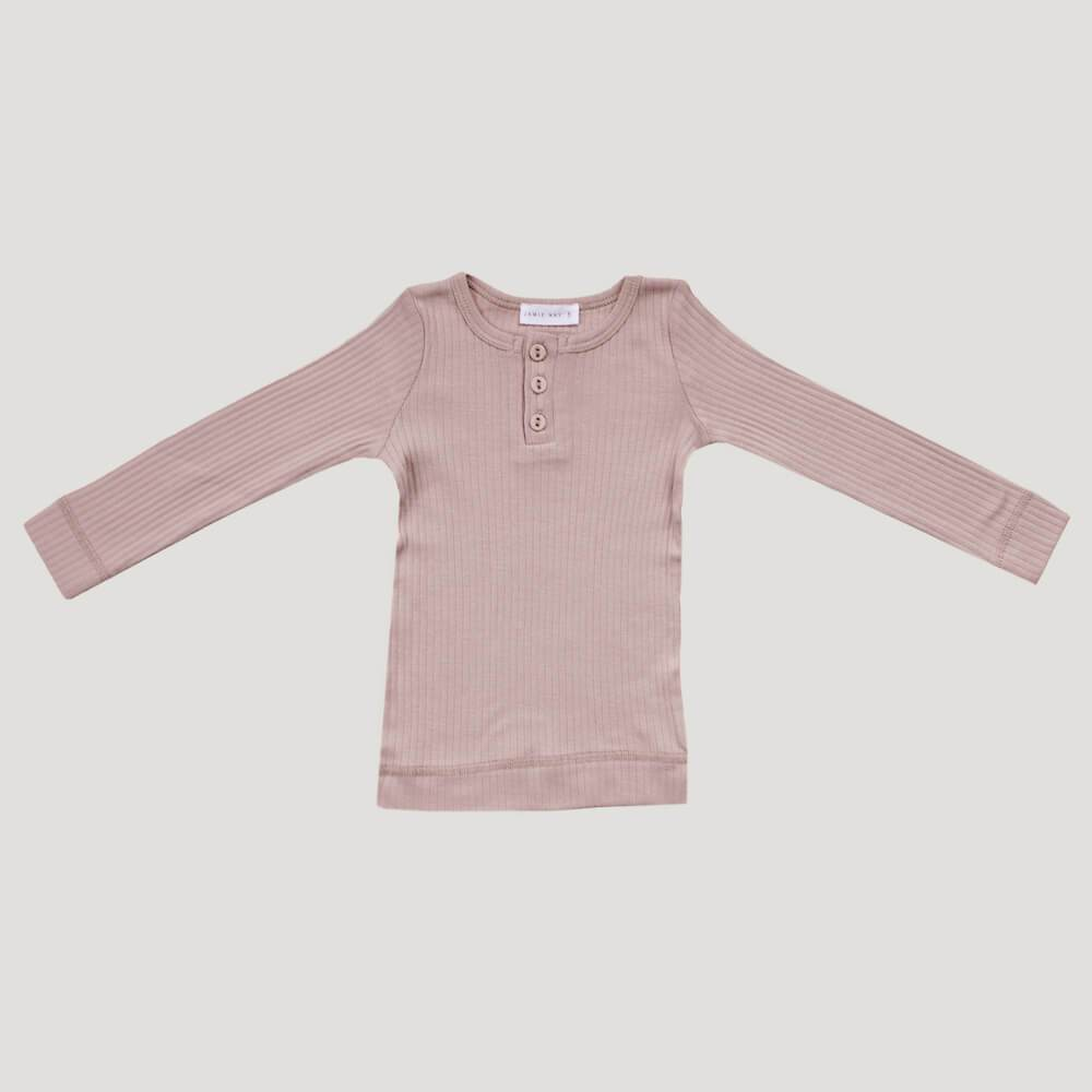 Cotton Modal Henley Top Rosy