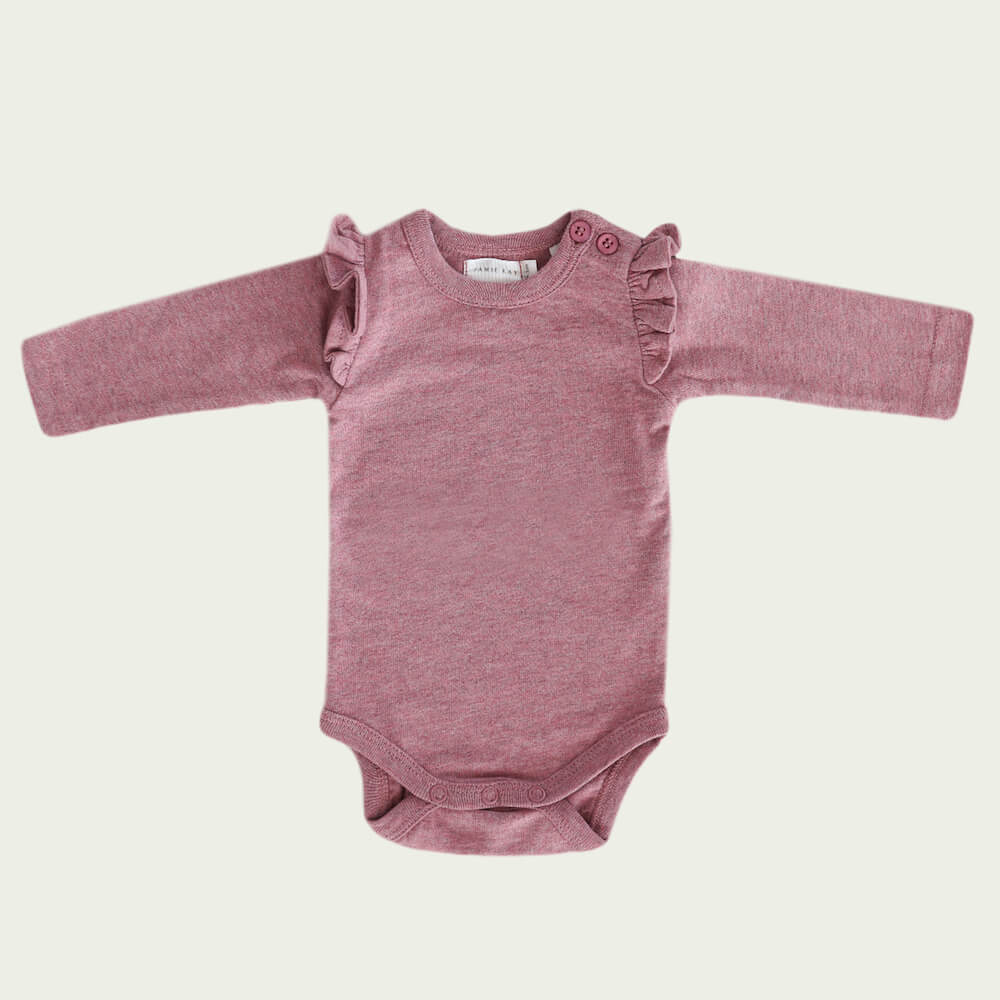 Jamie Kay Frill Bodysuit L/S Berry Fizz | Tiny People