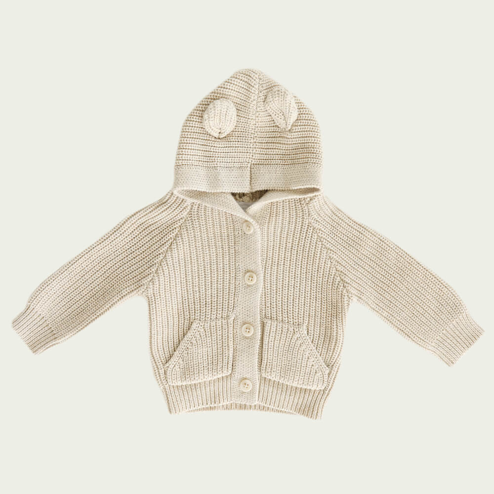 Jamie Kay Bear Cardigan Oatmeal Marle | Tiny People
