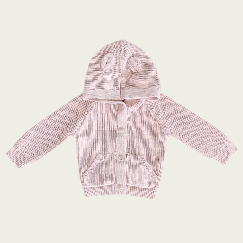 Jamie Kay Bear Cardigan Old Rose | Tiny People
