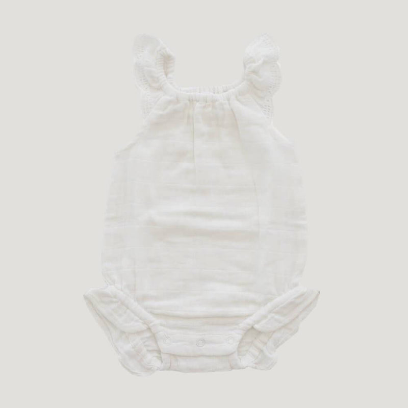 Cotton Muslin Lace Playsuit Coconut