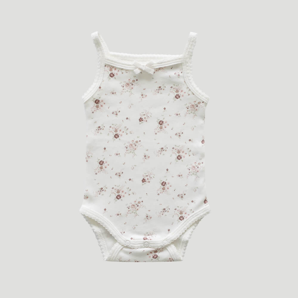 Organic Cotton Singlet Bodysuit Sweet William Floral