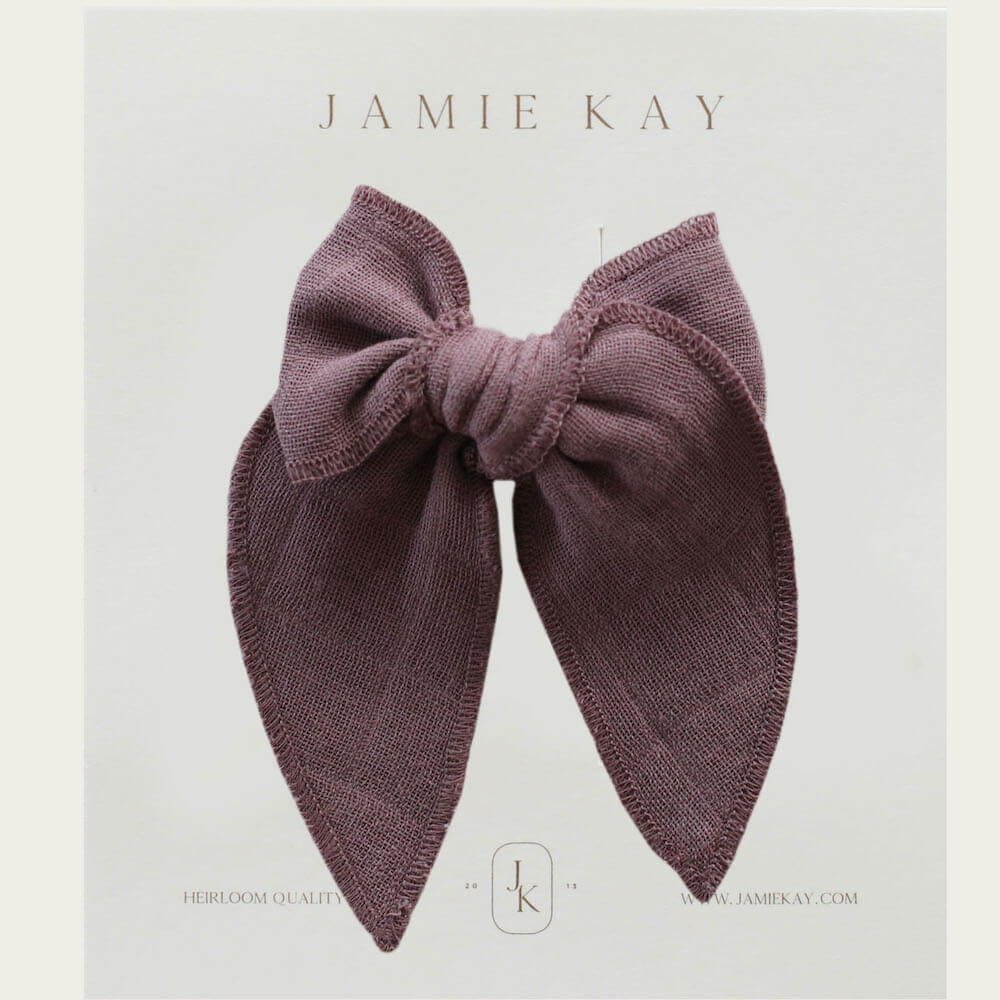 Jamie Kay Cotton Muslin Bow Rose Taupe | Tiny People