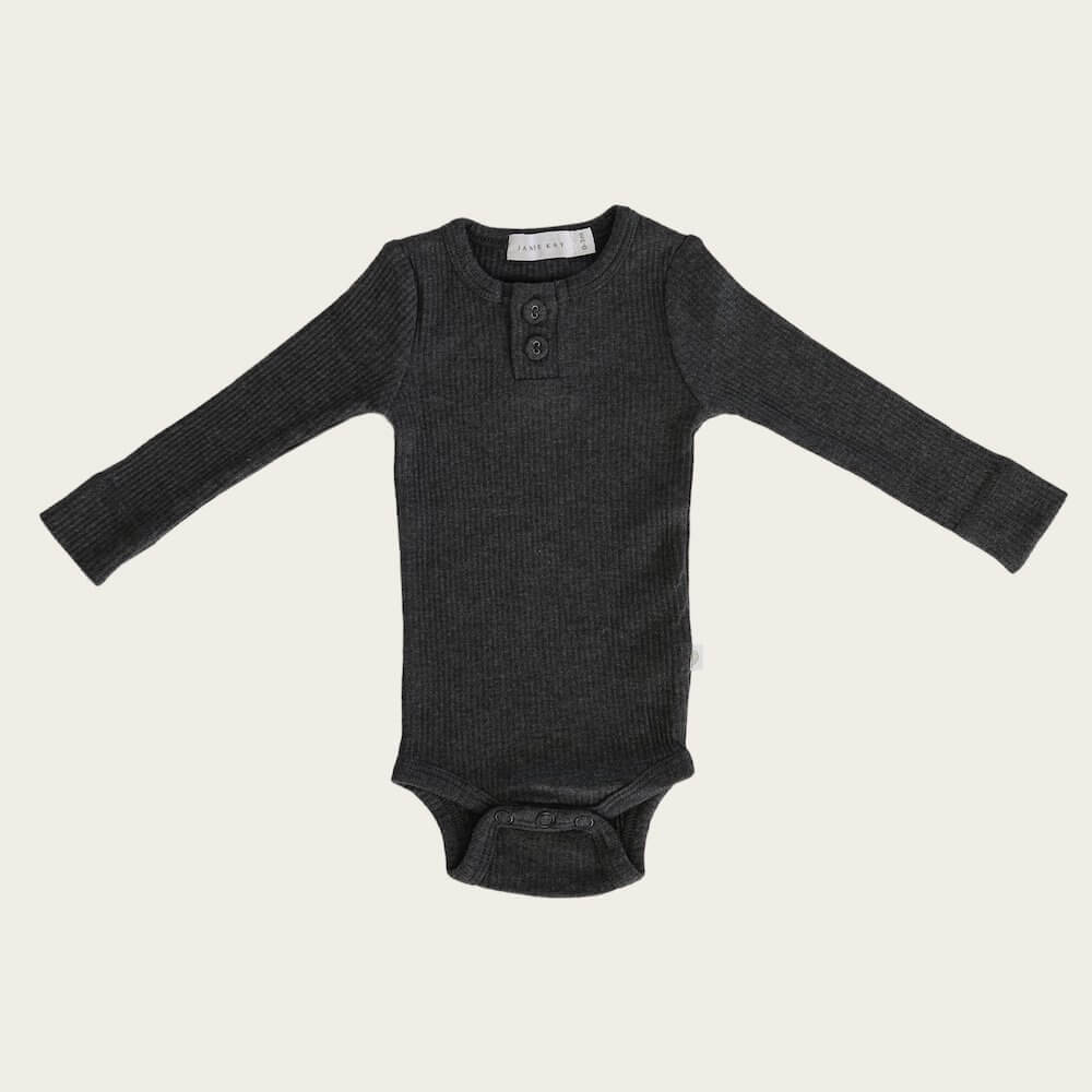 Organic Cotton Ribbed Bodysuit Dark Grey Marle