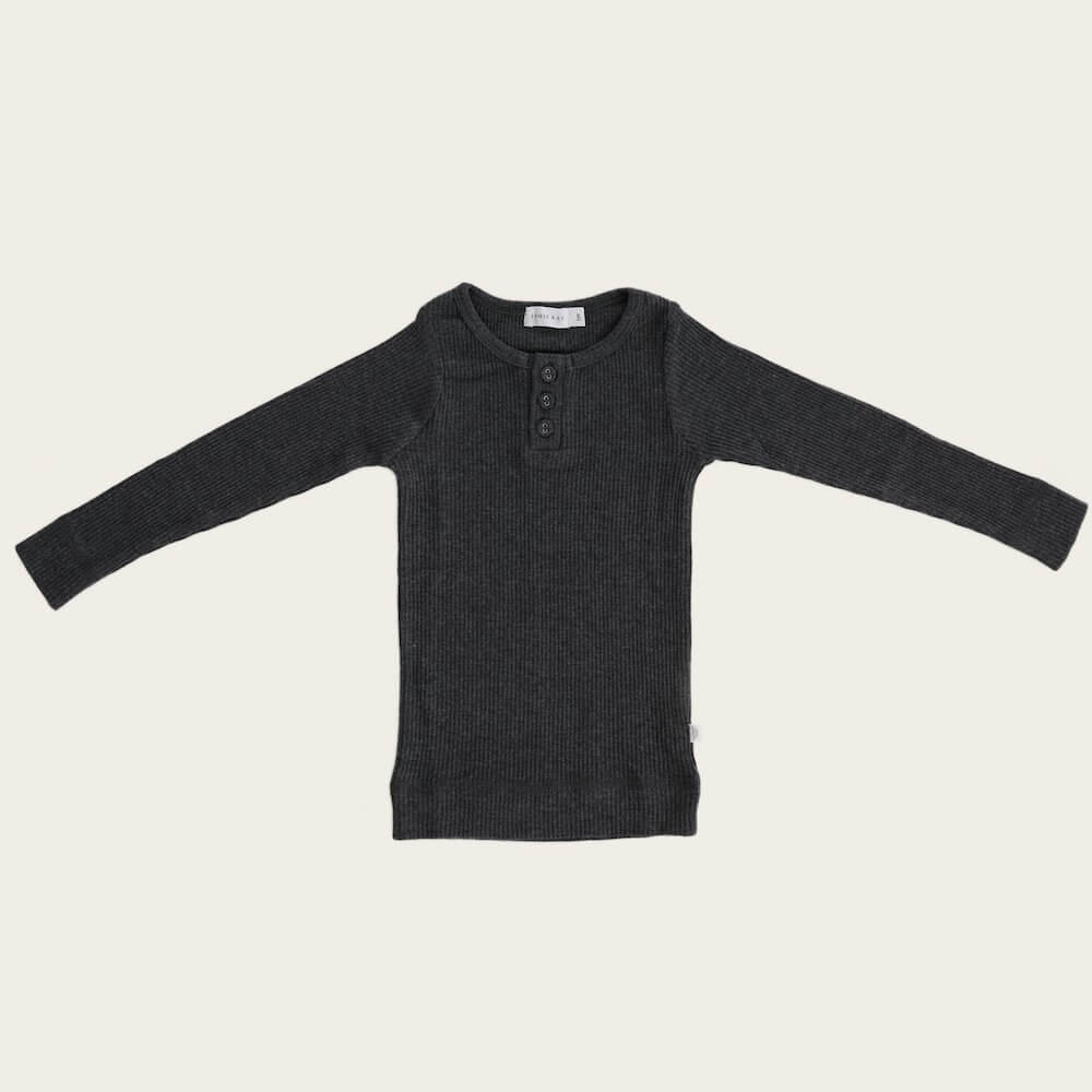 Organic Essential Long Sleeve Henley Dark Grey Marle